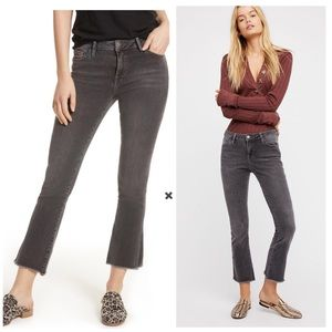 Free People High Rise Grey Crop Straight Leg Jeans